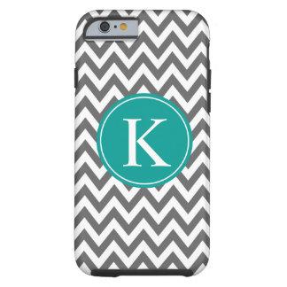 Grey Teal Green Chevron Zigzag Monogram Pattern Tough iPhone 6 Case