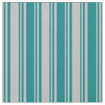 [ Thumbnail: Grey & Teal Stripes/Lines Pattern Fabric ]