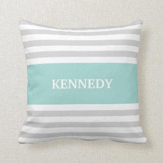 Grey Teal Stripes Monogram Throw Pillow