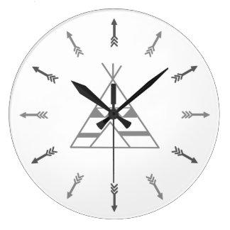 Grey tepee large clock