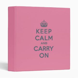 Grey Text on Pink - Keep Calm and Carry On Binders