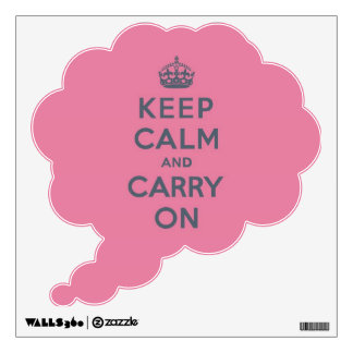 Grey Text on Pink - Keep Calm and Carry On Wall Sticker