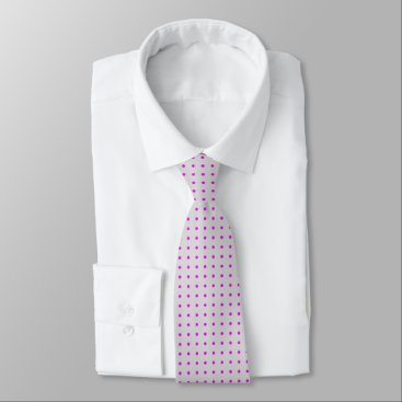 Professional Business Grey Tie With Polka Fuchsia Dots