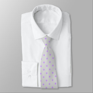 Grey Tie With Polka Purple Dots