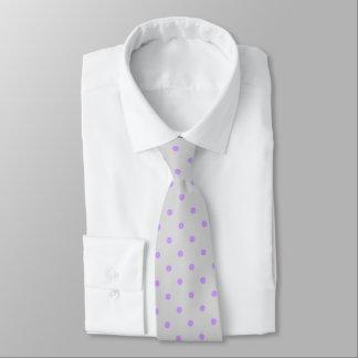 Grey Tie With Polka Purple Dots