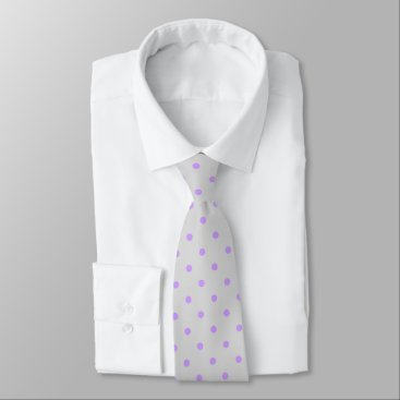 Professional Business Grey Tie With Polka Purple Dots