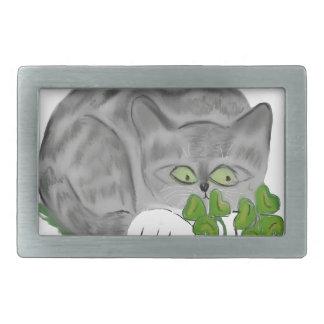 Grey Tiger Kitten Finds a Four Leaf Clover Rectangular Belt Buckles