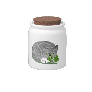 Grey Tiger Kitten Finds a Four Leaf Clover Candy Jar