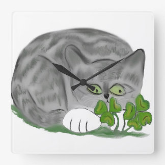 Grey Tiger Kitten Finds a Four Leaf Clover Square Wall Clocks