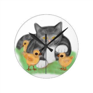 Grey Tiger Kitten Plays with Three Chicks Round Wallclock