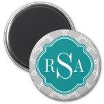 Grey Tile Lattice Pattern Emerald Monogram Fridge Magnets