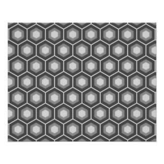 Grey Tiled Hex Poster