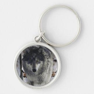 Grey Timber Wolf & Forest Snow Keychain
