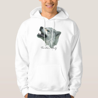 GREY TIMBER WOLF'S HEAD Wildlife Art Hooded Pullover