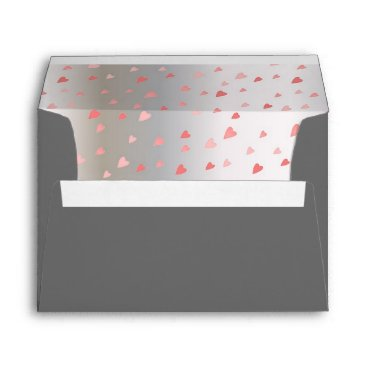 Professional Business Grey Tiny Rose Hearts Silver Grey Inside Envelope