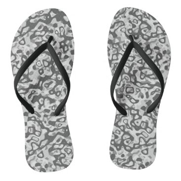 Beach Themed Grey Tones Abstract Pattern Flip Flops