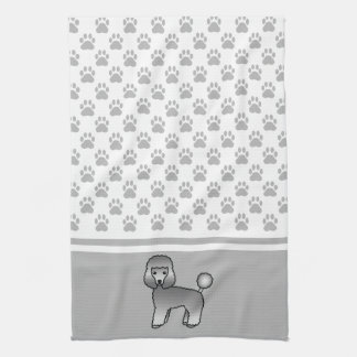 Grey Toy Poodle Dog With Dog Paws Pattern Towel