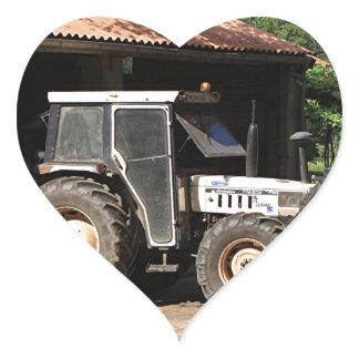 Grey tractor, El Camino, Spain Heart Sticker