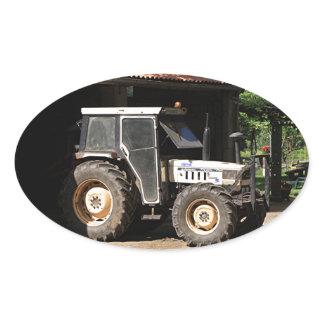 Grey tractor, El Camino, Spain Oval Sticker