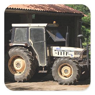 Grey tractor, El Camino, Spain Square Sticker
