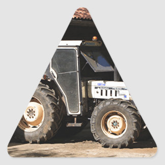 Grey tractor, El Camino, Spain Triangle Sticker