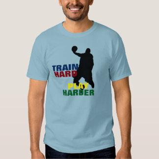 Grey Train Hard Play Harder Basketball T-Shirt