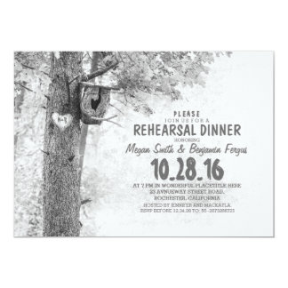 grey tree rustic country REHEARSAL DINNER invites