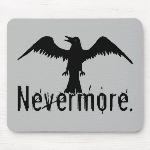 Grey Tribal Raven Nevermore Mouse Pad