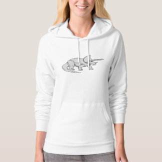 Grey Triceratops Hooded Pullover