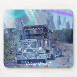 Grey Truck Highway Driving Art Mousepad