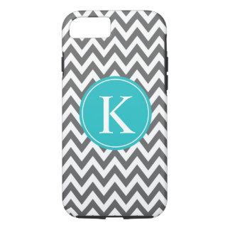 Grey Turquoise Chevron Zigzag Monogram Pattern iPhone 8/7 Case