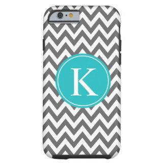 Grey Turquoise Chevron Zigzag Monogram Pattern Tough iPhone 6 Case