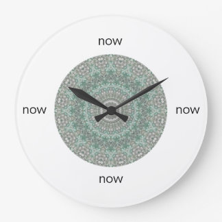 "Grey & Turquoise Mandala ""Now"" Large Clock"