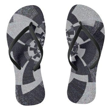 Beach Themed Grey Tweed Flip Flops