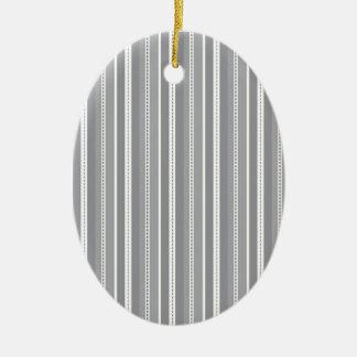 Grey Vertical Stripes Customizable Wedding Pattern Ceramic Ornament