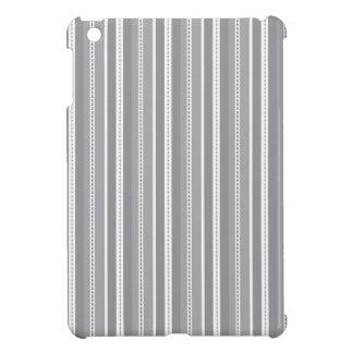 Grey Vertical Stripes Customizable Wedding Pattern iPad Mini Covers