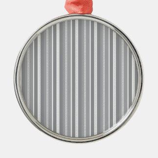 Grey Vertical Stripes Customizable Wedding Pattern Metal Ornament