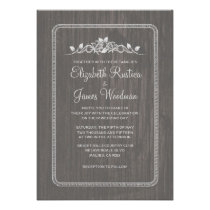 Grey Vintage Barn Wood Wedding Invitations Personalized Announcement