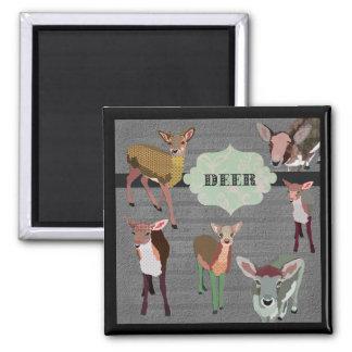 Grey Vintage Deer Magnet