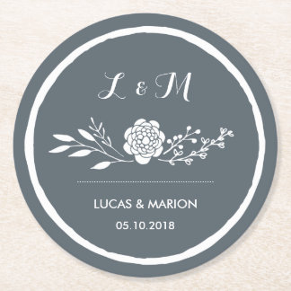 Grey Vintage Flower Bouquet Monogram Wedding Party Round Paper Coaster