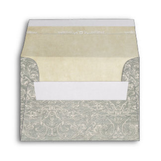 Grey Vintage French Regency Lace Weddings Envelope
