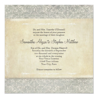 Grey Vintage French Regency Lace Weddings Announcement