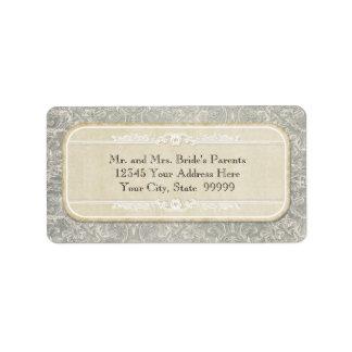 Grey Vintage French Regency Lace Weddings Label