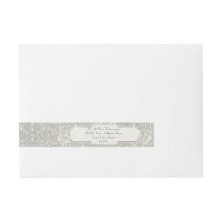 Grey Vintage French Regency Lace Weddings Wrap Around Address Label