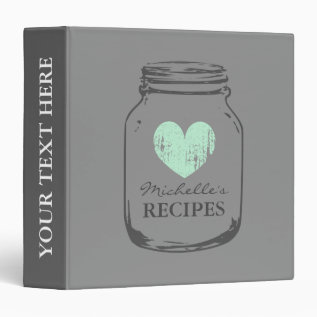 Grey Vintage Mason Jar Kitchen Recipe Binder Book at Zazzle