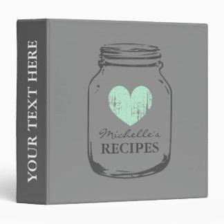 Grey vintage mason jar kitchen recipe binder book