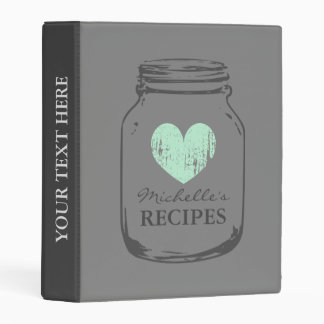 Grey vintage mason jar mini recipe binder book