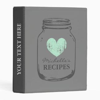 Grey vintage mason jar mini recipe binder book