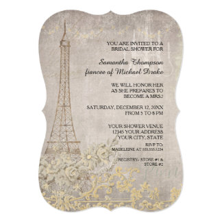 Grey Vintage Paris Parisian Stylish Bridal Shower Card