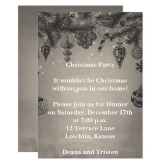 Grey Vintage Style Christmas Party Invitation